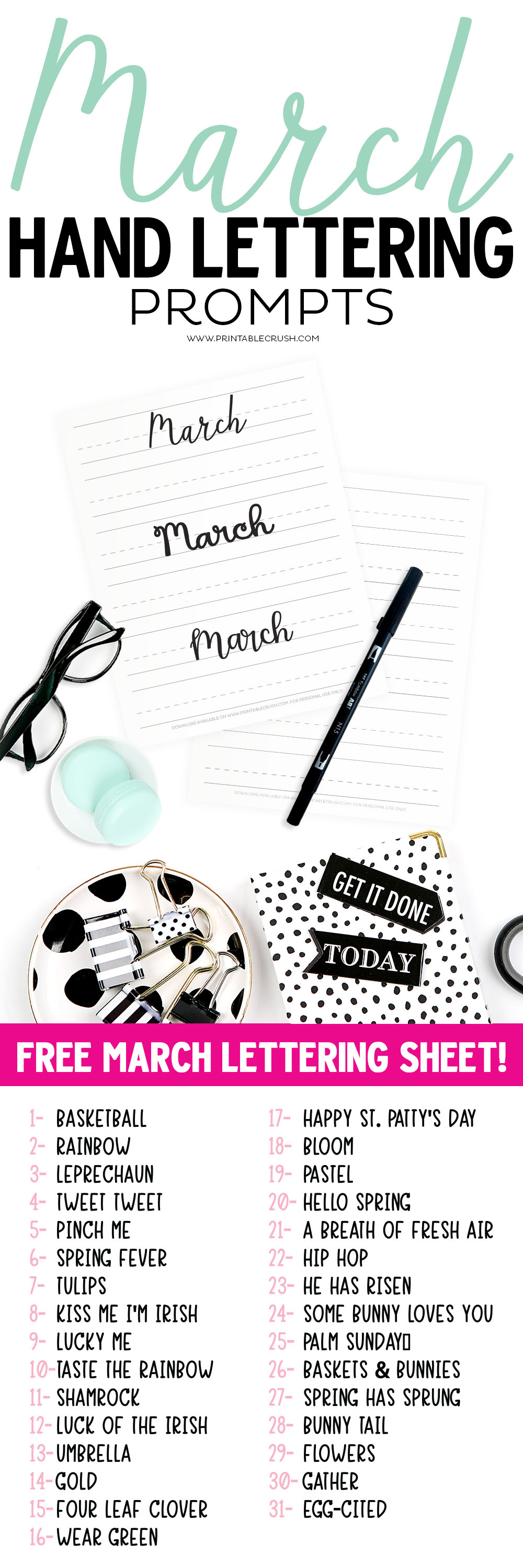 Get 31 MARCH Hand Lettering Prompts plus a FREE practice sheet in this blog series to improve your hand lettering skills. Plus, learn how you can get 31 days of MARCH lettering worksheets! via @printablecrush