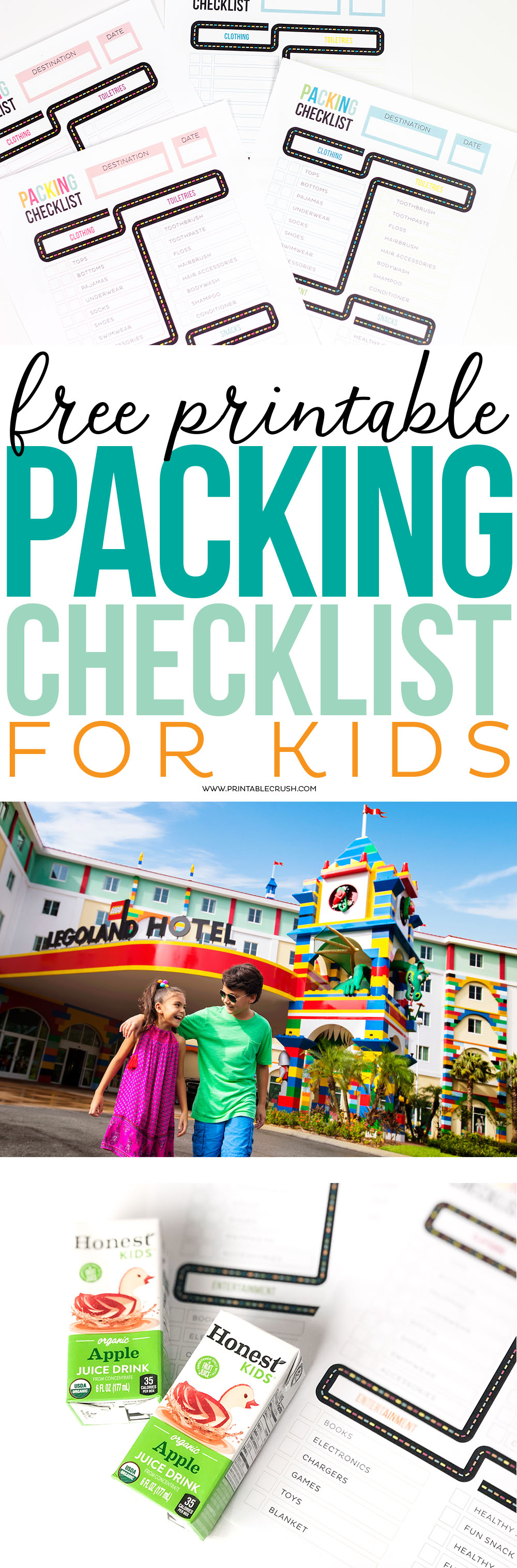 Get ready for your Family Vacation with this FREE Printable Packing CheckList for Kids. It comes in two color combinations with a sample template!
