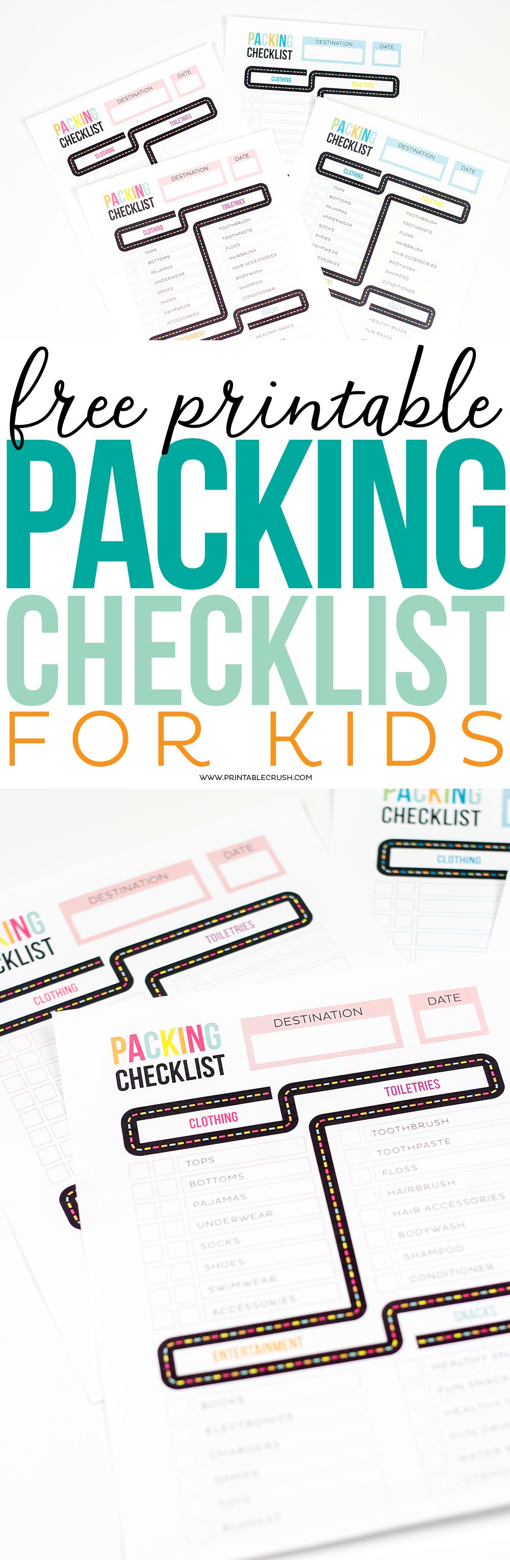 Get ready for your Family Vacation with this FREE Printable Packing List for Kids. It comes in two color combinations with a sample template! via @printablecrush