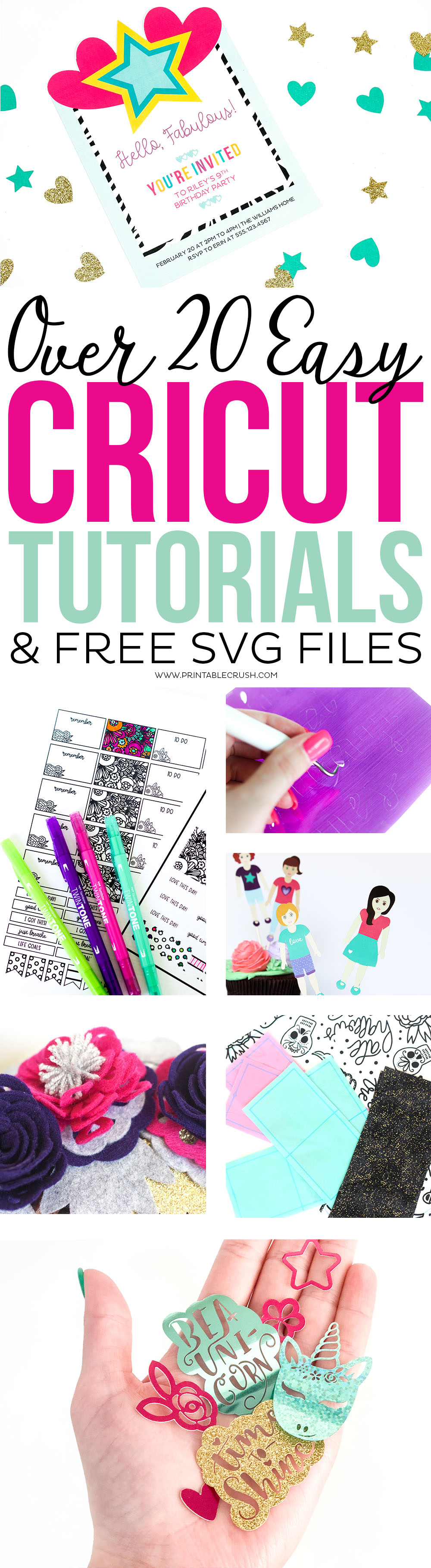 Get inspired by over 20 Easy Cricut Tutorials and Free SVG Files. You'll find design space tutorials, Cricut craft ideas, freebies, and more! via @printablecrush