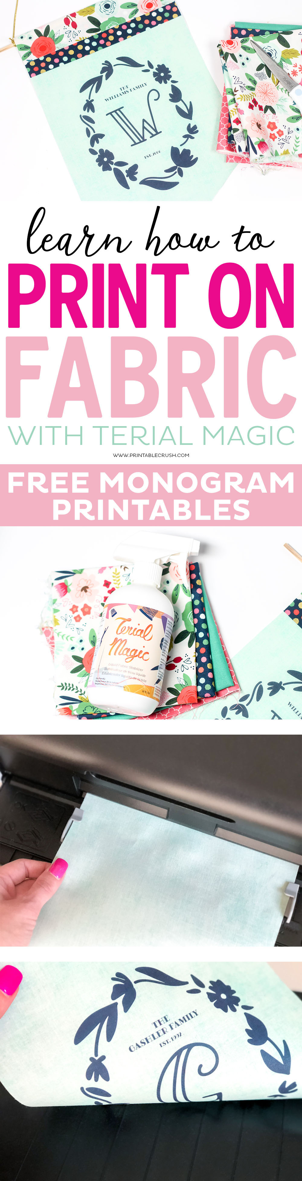 Terial Magic is a Fabric Stabilizer that allows you to easily print on fabric with your inkjet or laser printer! Create these lovely monogram pennants with my free printables, or even print your own patterns.