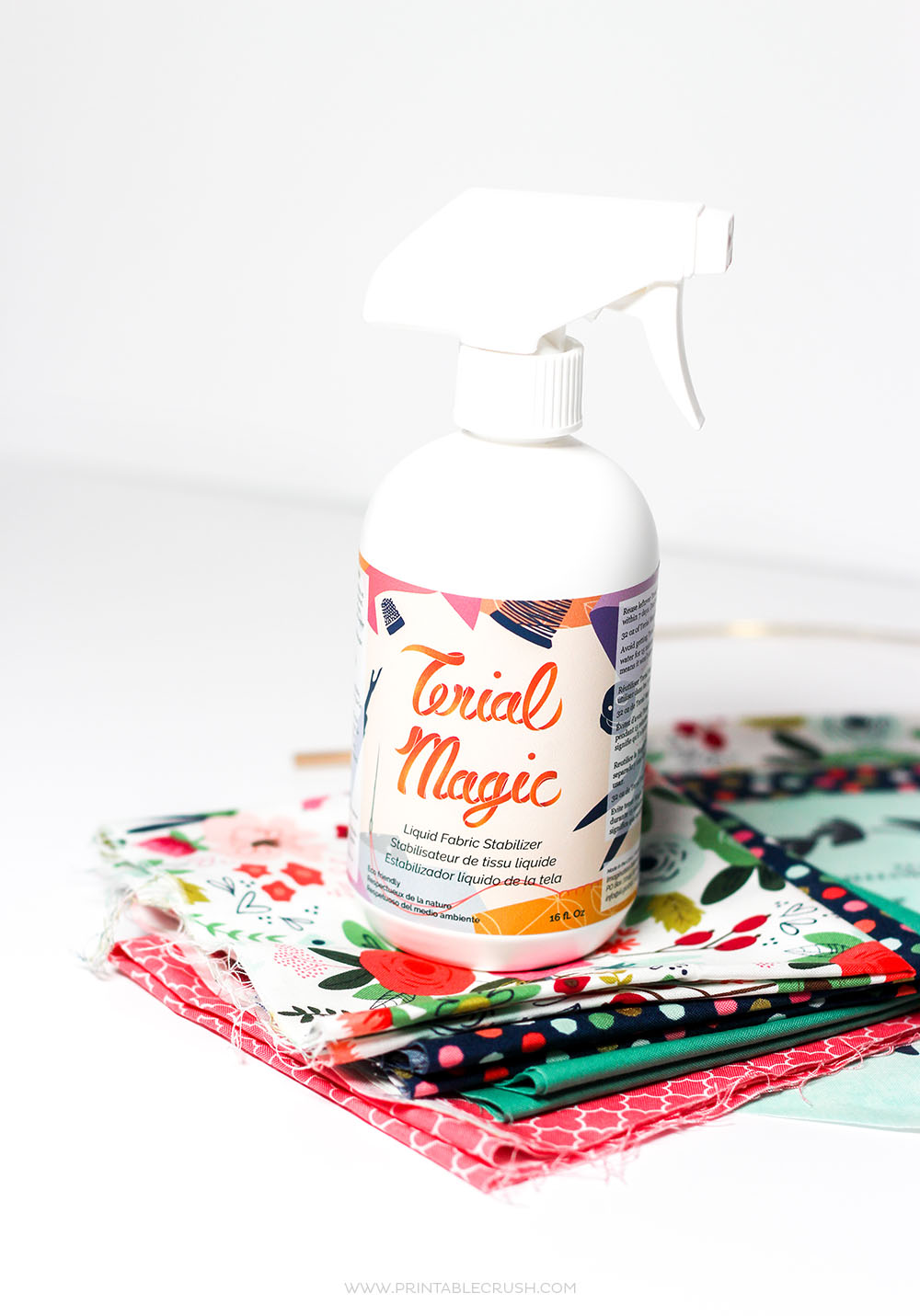 Use Terial Magic Fabric Stabilizer to Print on Fabric. It also allows you to cut fabric without fraying your edges!