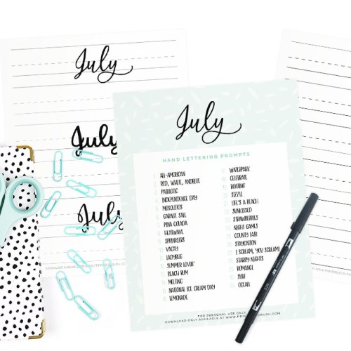 These July Hand Lettering Prompts and free worksheets are all about Summer, 4th of July, and beach time fun!! Practice every day to improve your hand lettering skills!