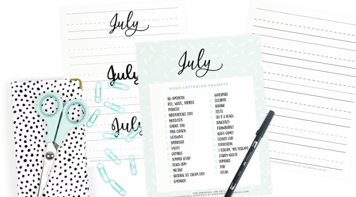These July Hand Lettering Prompts and free worksheets are all about Summer, 4th of July, and beach time fun!!Practice every day to improve your hand lettering skills!