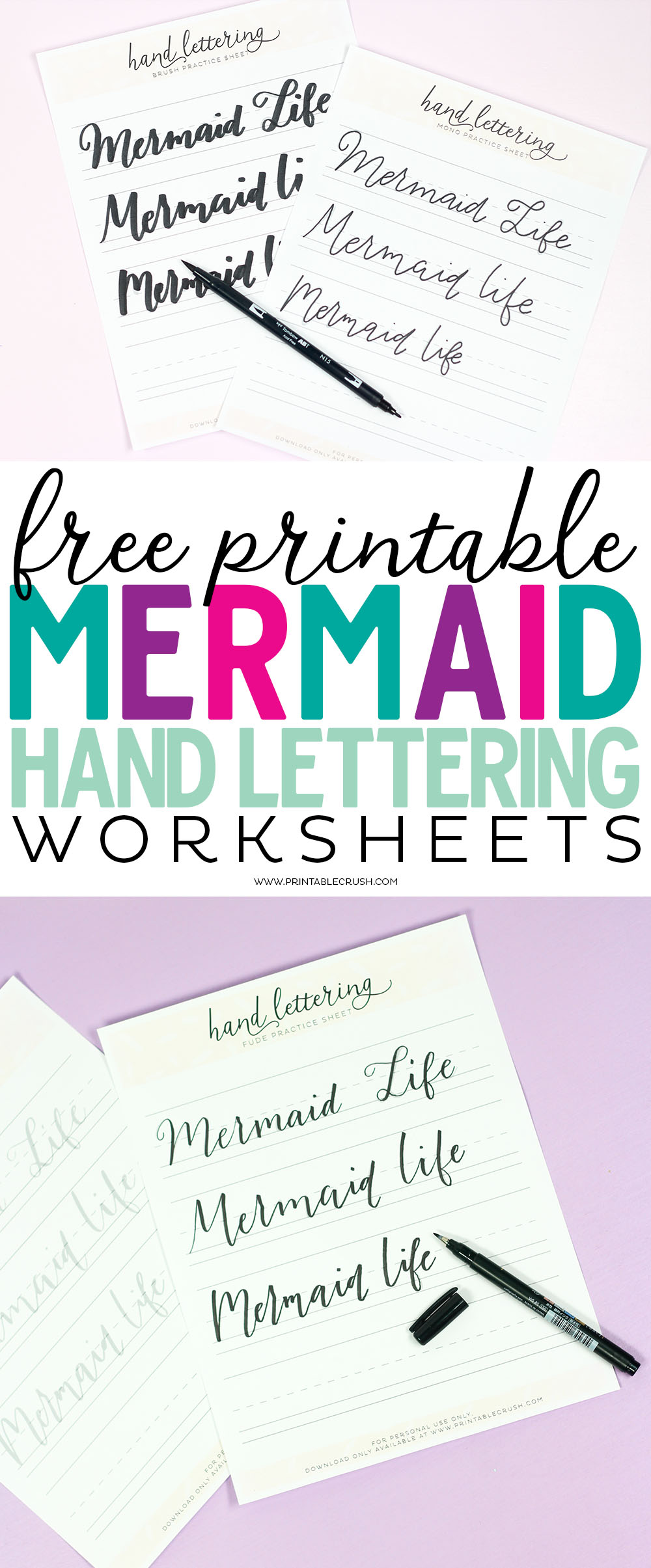 Free Printable Mermaid Hand Lettering Worksheets  Printable Crush