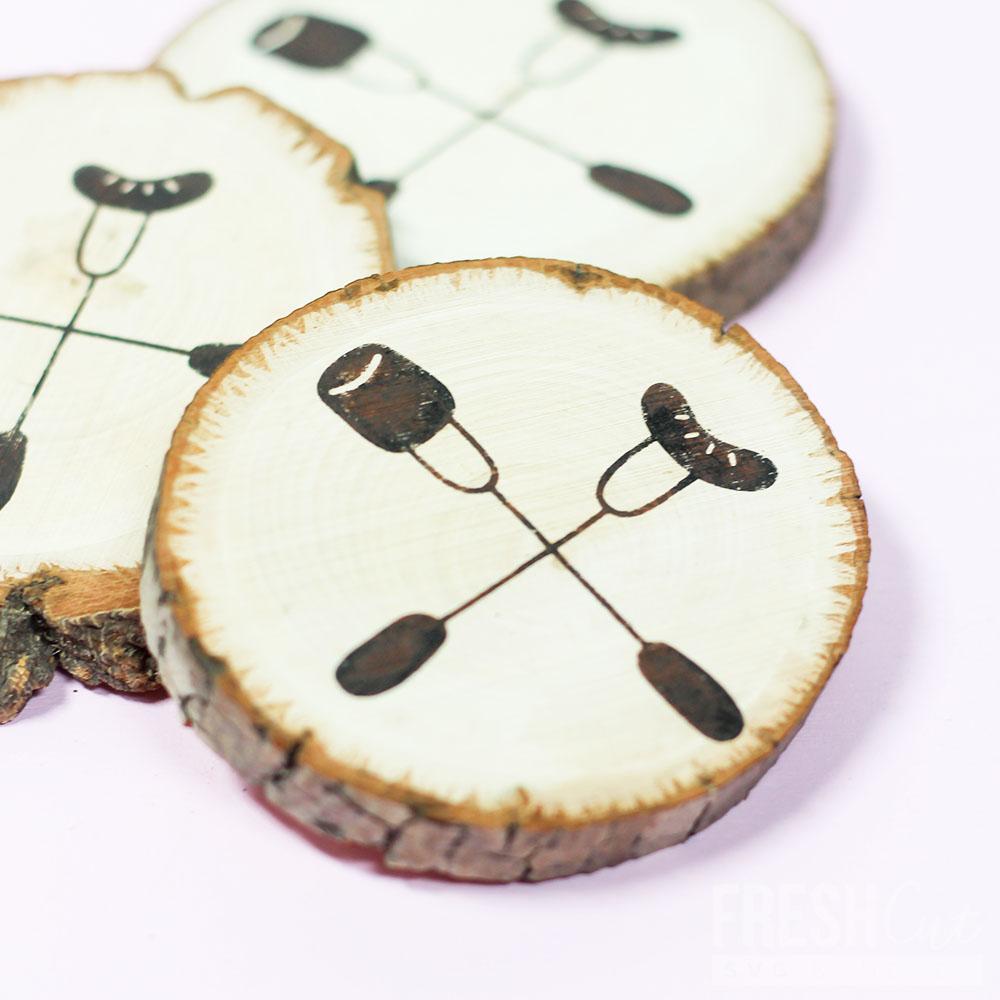 hot-dog-marshmallow-faux-wood-burned-coasters-svg-file