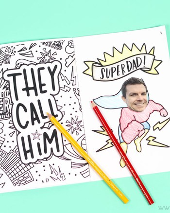 This Superhero coloring book also doubles as a father's day gift idea! Dad and the kids will love this!!