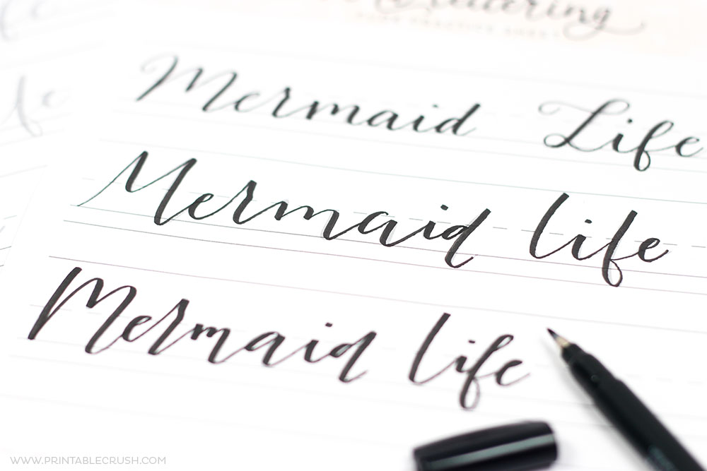 Practice your lettering with these 3 FREE Mermaid Hand Lettering Practice Sheets. Includes a fudenosuke, brush, and monoline practice sheet.
