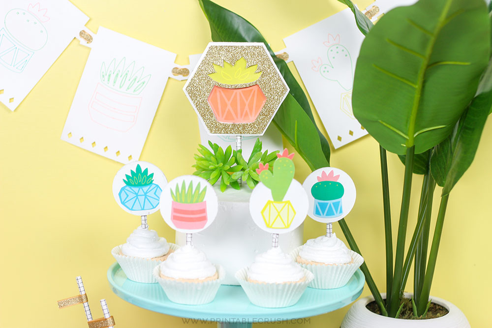 Cricut Knife Blade Cake Topper and cupcake toppers