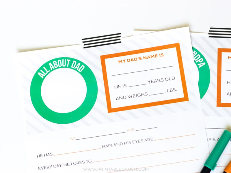 Give Dad or Grandpa a good laugh with a FREE Father's Day Questionnaire Printable! The kids will love filling it out and dad will love reading it.