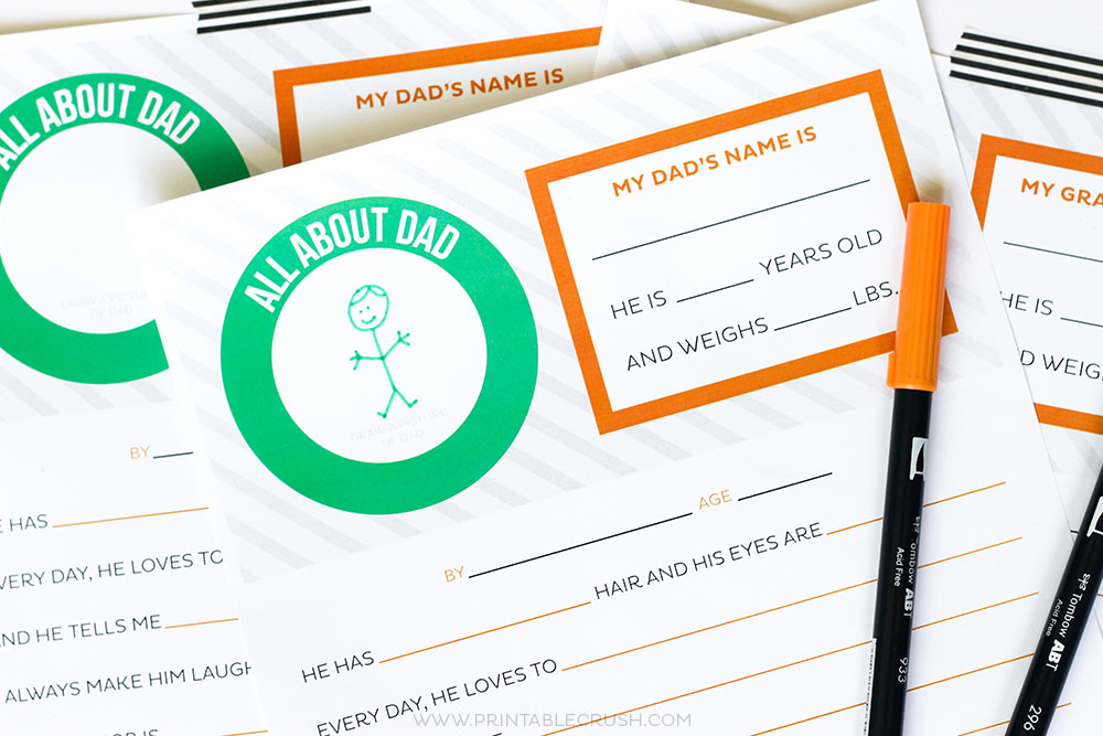 Your kids will love filling out this Father's Day Questionnaire printable. It's hilarious and adorable to see kids' answers to these questions!