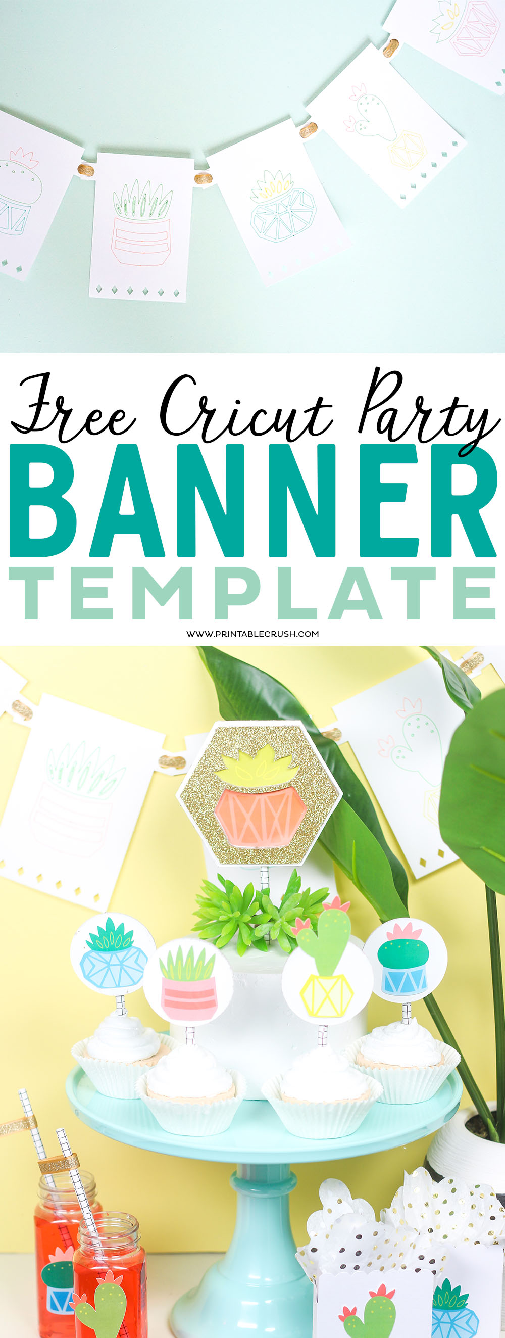 Free cricut party banner template printable crush what youll need to make this succulent banner using the free cricut party banner template maxwellsz