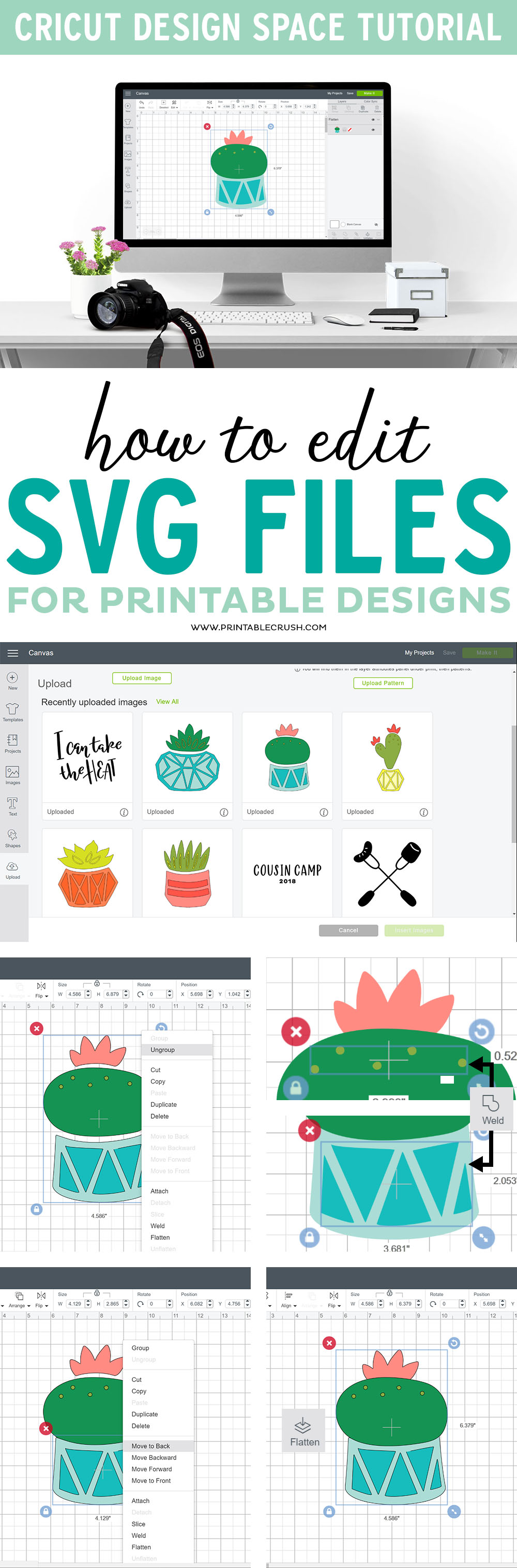 Turn any SVG File into a printable with this tutorial on How to Edit SVG Files for Printables in Cricut Design Space.  #cricutmade #cricutdesignspace #cricuttutorial via @printablecrush