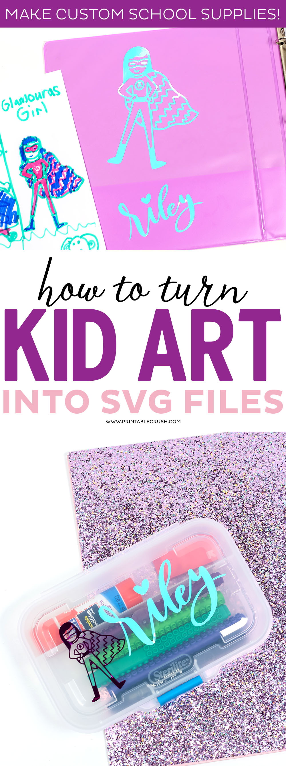 Learn how to Turn Kid Art into SVG Files with your Cricut Machine and vinyl! This is the perfect tutorial for creating custom Back to School Supplies.
