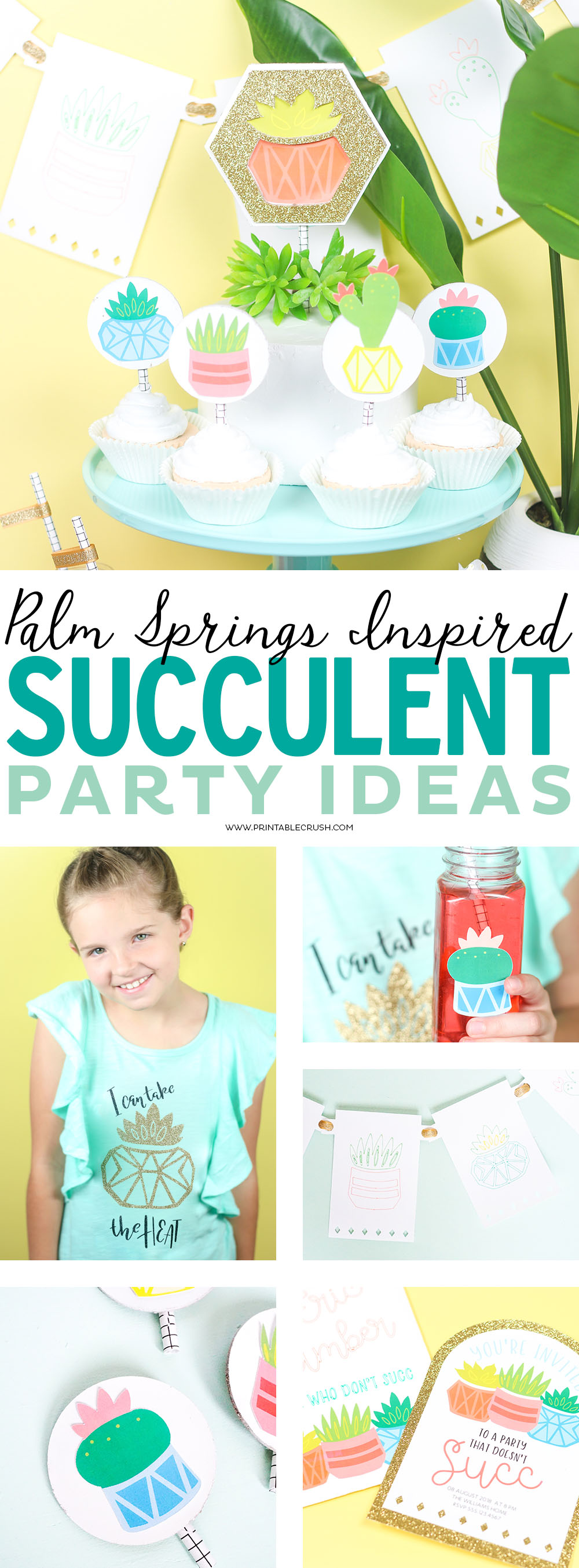 Throw the perfect end of summer party with thesePalm Springs-Inspired Succulent Party Ideas. Use your Cricut to make these gorgeous party printables! #cricutpartyideas #succulent #partyideas via @printablecrush