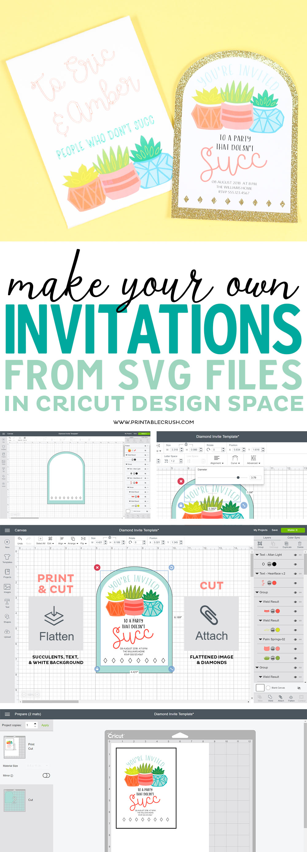 Use Succulent SVG Files to make your own invitations in Cricut Design Space