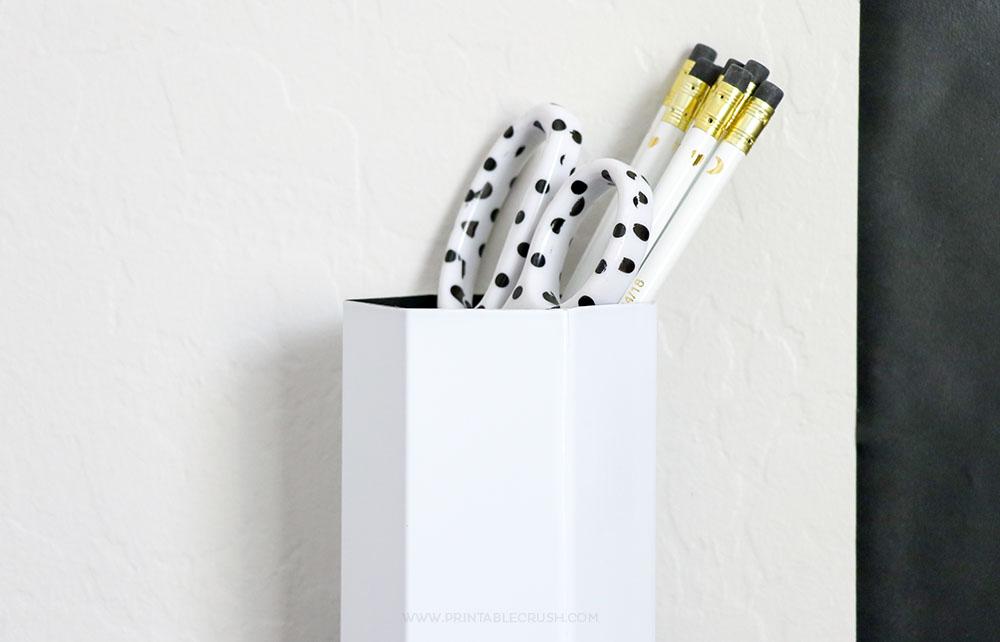 Easy DIY Wall Hanging Pencil Holder for a fun kid room decor idea