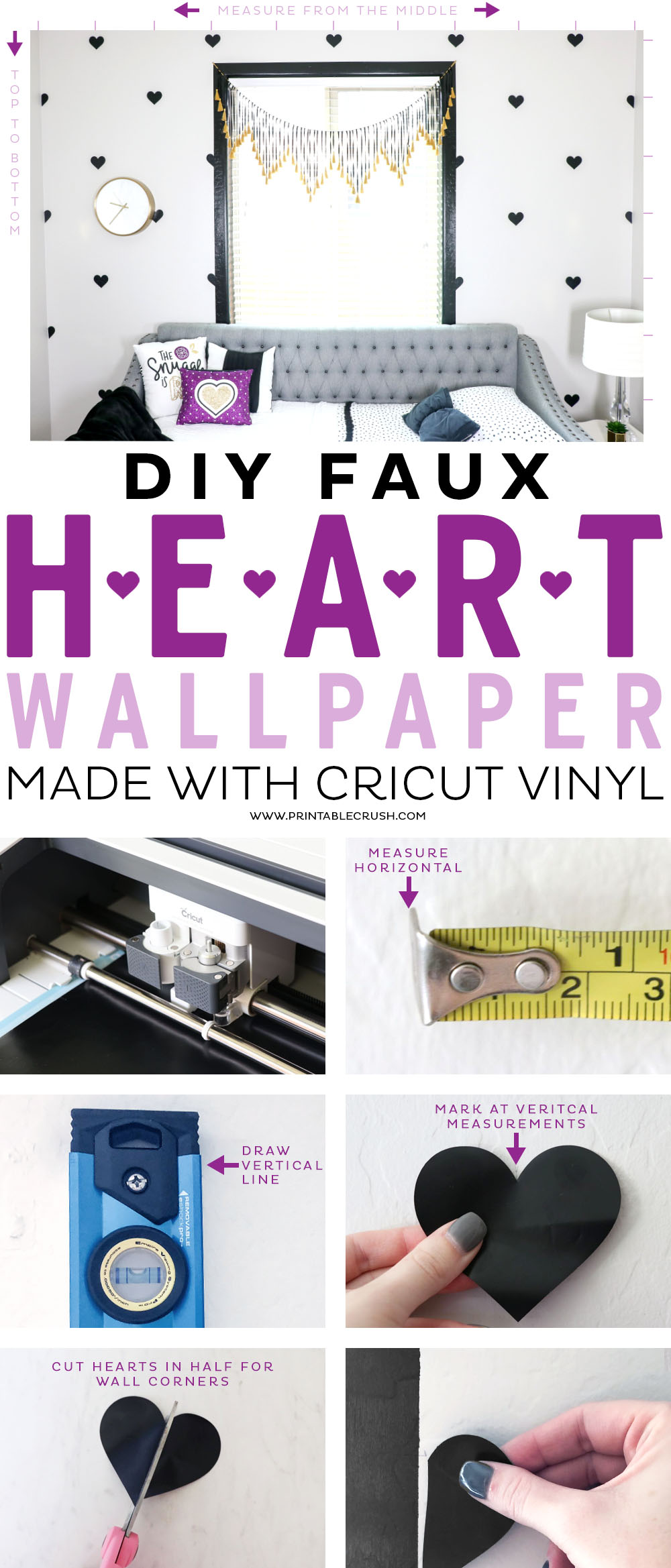 This DIY Faux Heart Wallpaper tutorial made with Cricut Vinyl is SO much easier and less expensive than real wallpaper!