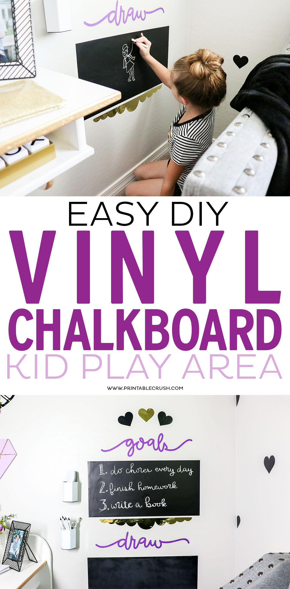 This DIY Vinyl Chalkboard Kid Play Area is easy to create and an inexpensive way to decorate a kid room!