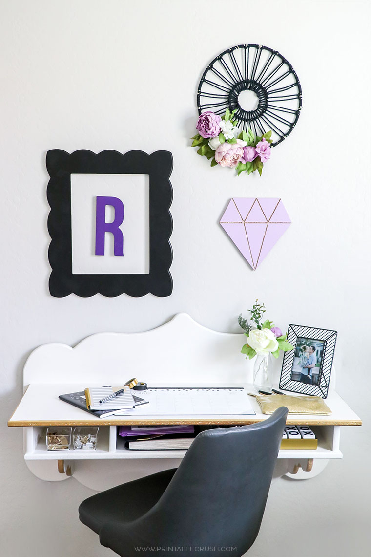 Add DIY decor on the walls and spray paint items you already have to create a cute tween bedroom on a budget.