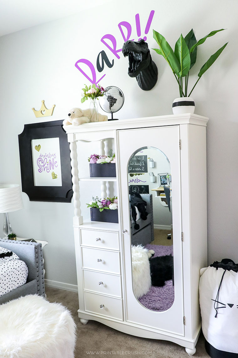 Add unexpected elements to a girls tween room like this resin t-rex wall mount Girls like dinosaurs too