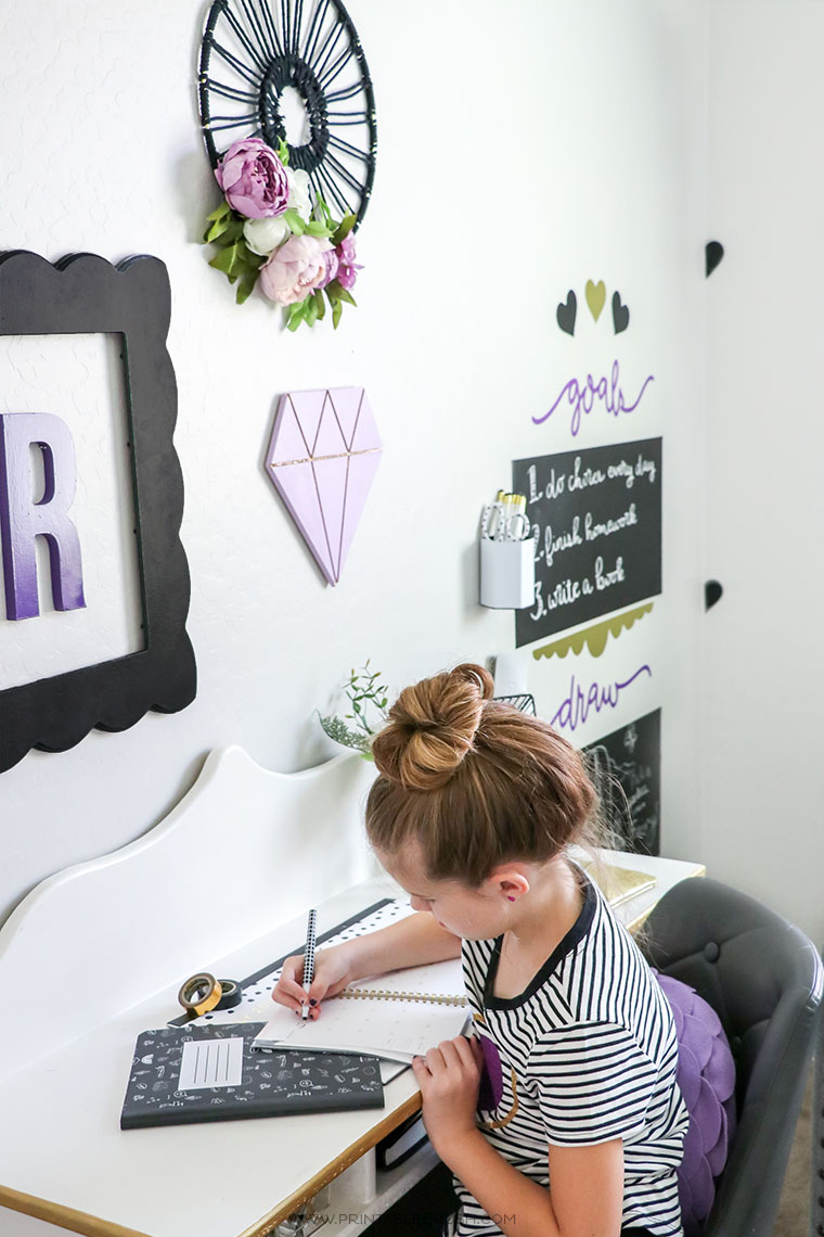 It's never too early to teach time management skills! A calendar on this tween room desk will keep your child organized and protect the desk surface!