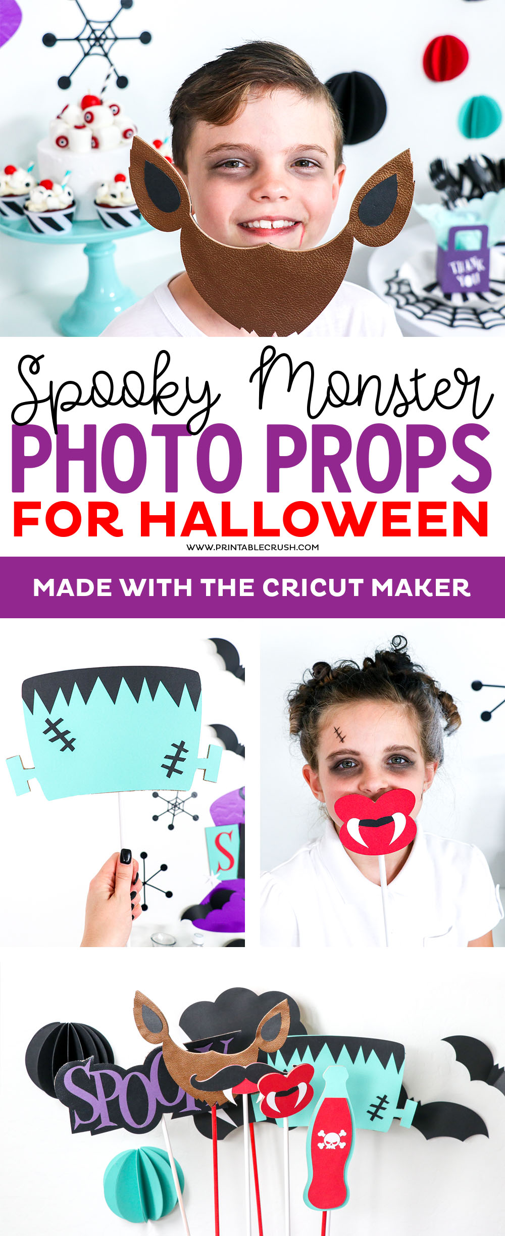 Make these Monster Photo Props with your Cricut Maker! They will be a hit at your next Halloween party or use them as part of a Halloween Costume. #cricutmade #sayitwithcricut #cricutmaker #halloweenparty #halloweenphotoprops via @printablecrush