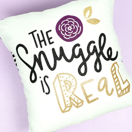 The Snuggle is Real DIY Glitter Pillow idea for Tween Bedroom decor