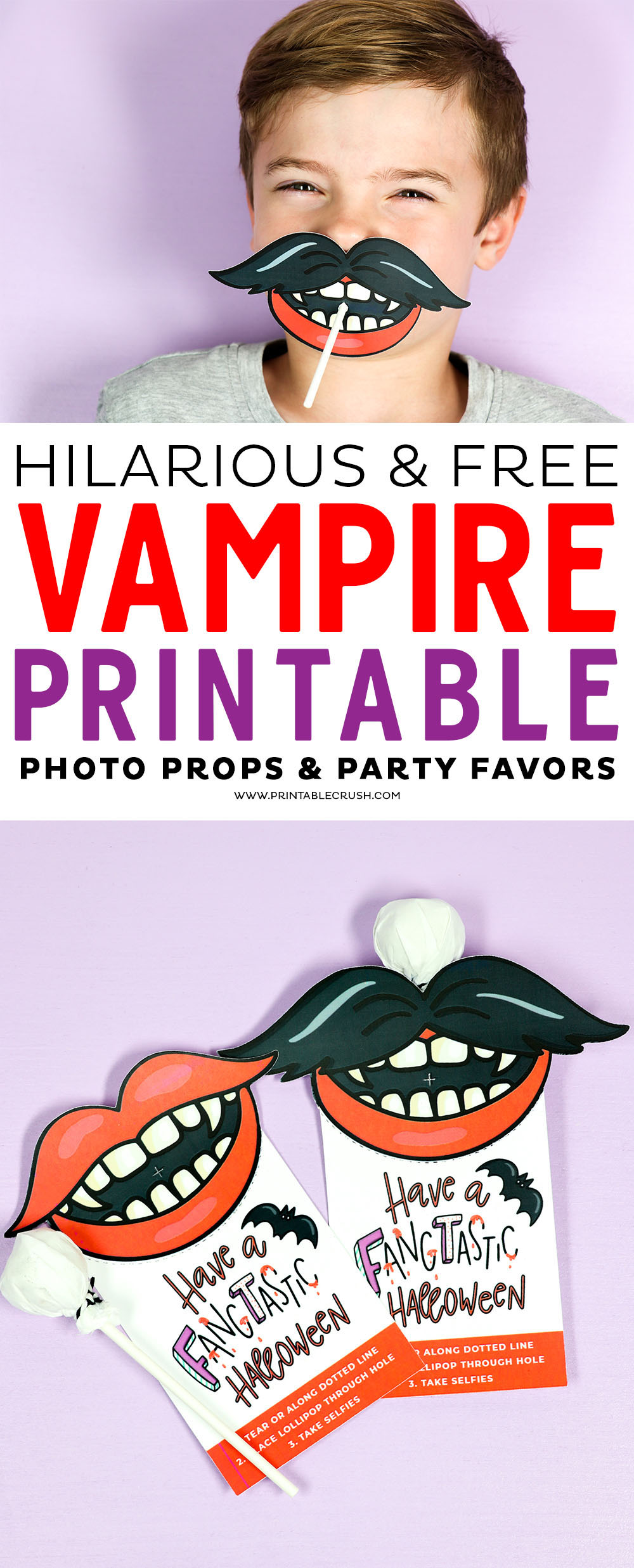 These FREE Vampire Halloween Printables are hilarious and perfect to give out for Halloween parties or trick or treat gifts! #vampireprintable #freehalloweenprintable #halloweenprintable #halloweenparty #halloweenphotoprops via @printablecrush
