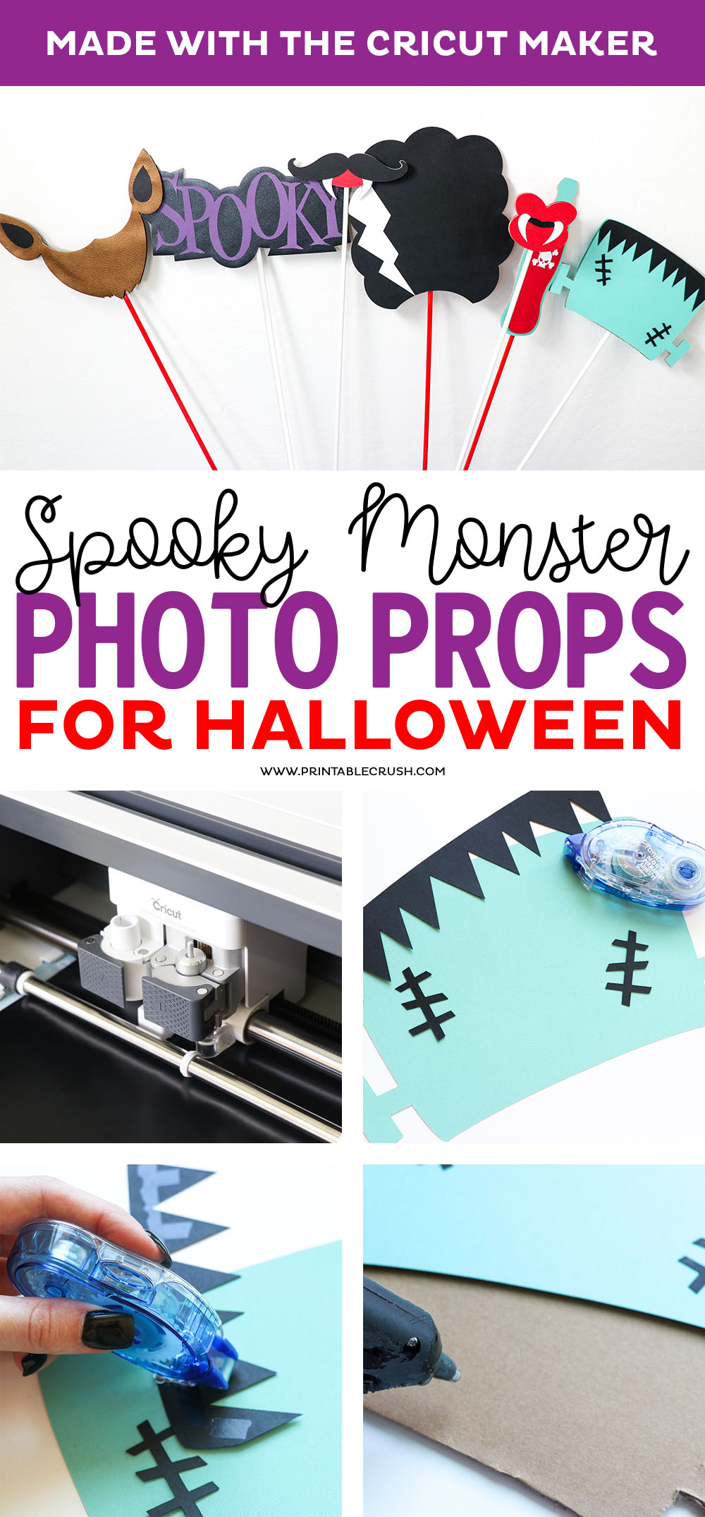 You can easily create these Monster Photo Props with the Cricut Maker! They are the perfect prop for Halloween costume pictures.