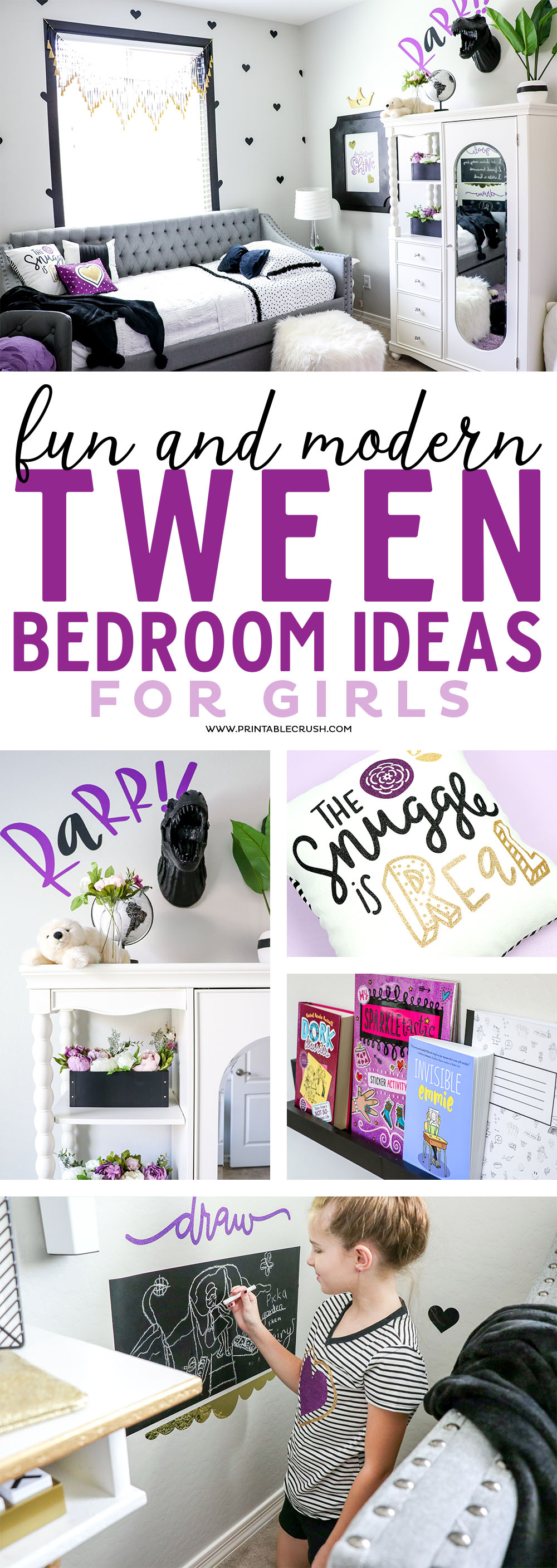 You will LOVE this modern Tween Girls Room design! Plenty of decor ideas to decorate your own creative space. #tweenbedroom #tweenroomsideas #tweenroom #kidroomideas #homedecor
