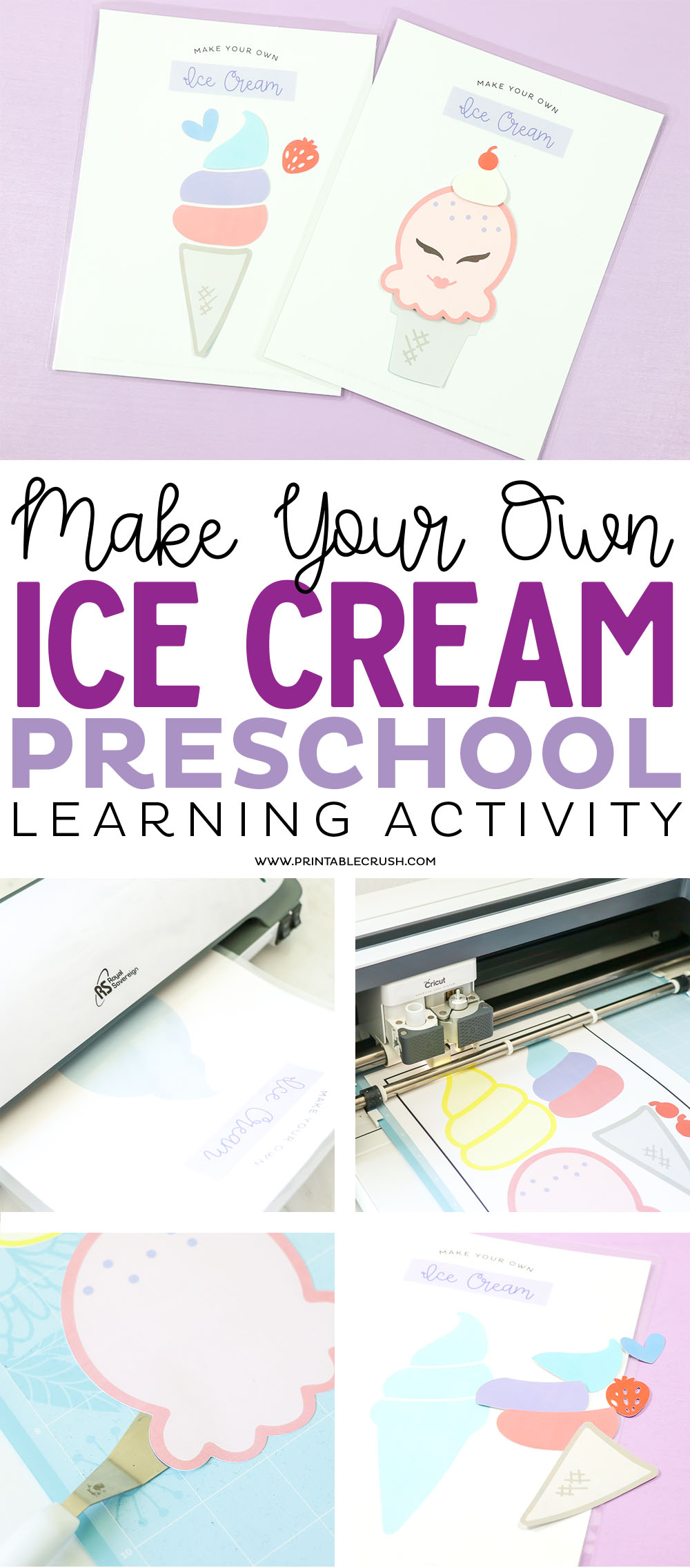 Your kids will LOVE this Make Your Own Ice Cream Printable Activity! It's the perfect preschool learning activity!
