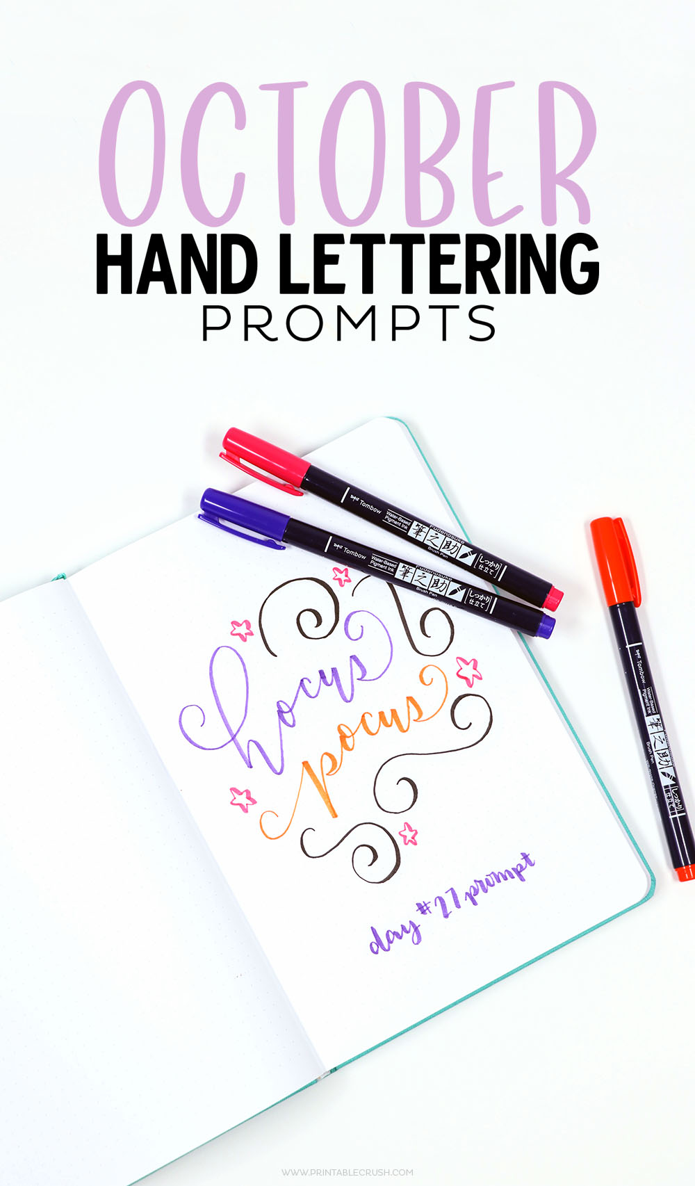 Download this FREE October Hand lettering prompts and worksheet so you can practice lettering daily!