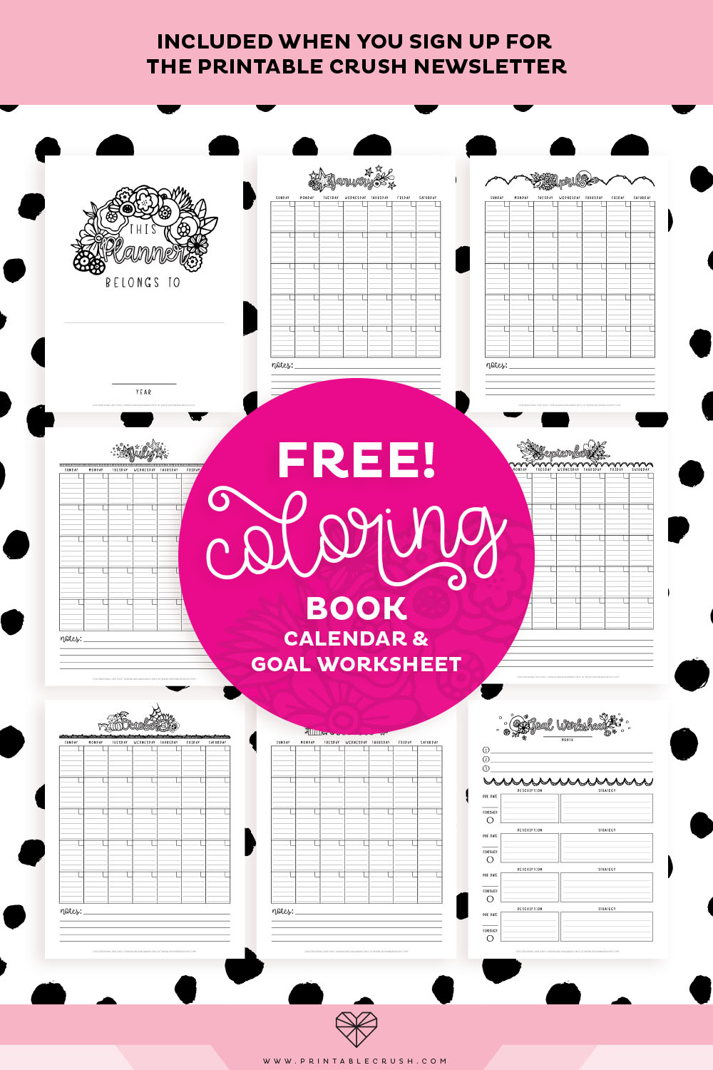 Get this Fun Coloring Book Planner when you sign up for the Printable Crush email list!