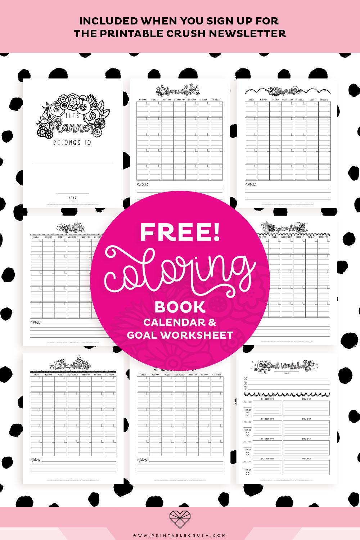 free coloring book calendar and goal worksheet printable crush