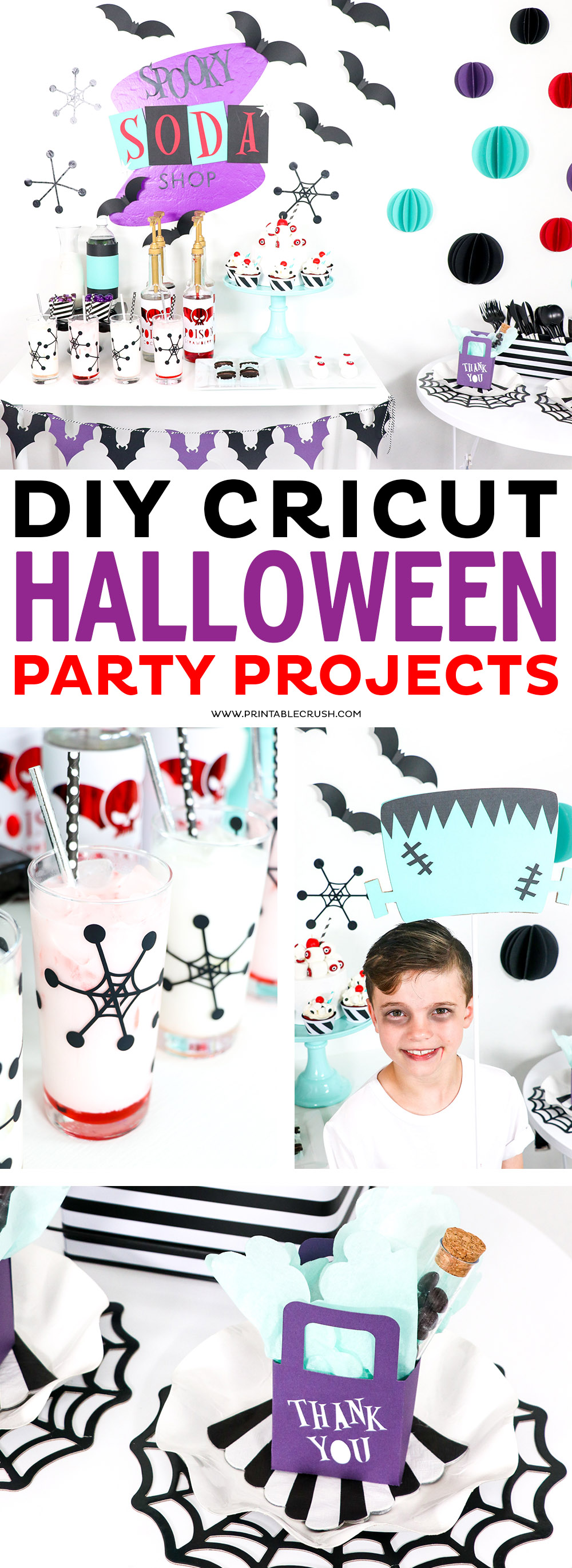 These DIY Cricut Halloween Party Projects are ready to go in Cricut Design Space. Just click on the link to the project and select MAKE IT or you can customize it! #cricutmade #cricutprojects #sayitwithcricut #halloweenparty via @printablecrush