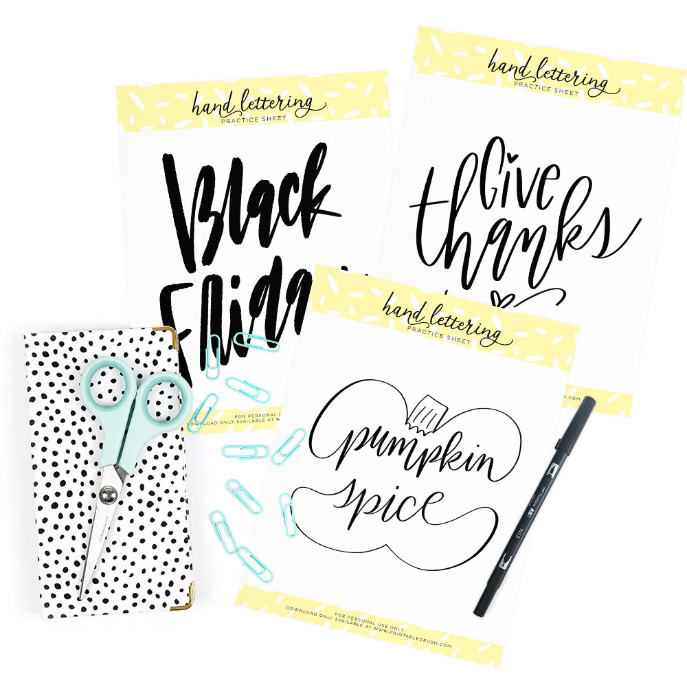 Check out the November Hand Lettering Worksheets in the Shop!