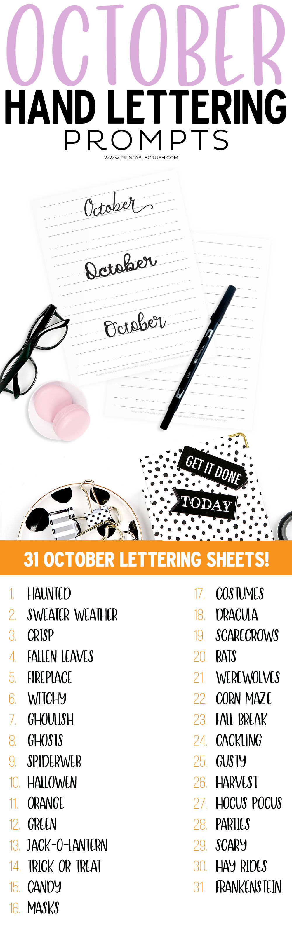 Get 31 Free October Hand Lettering Prompts plus a FREE practice sheet in this blog series to improve your hand lettering skills. You can practice with your own writing, or try it with the lettering worksheets from my shop!