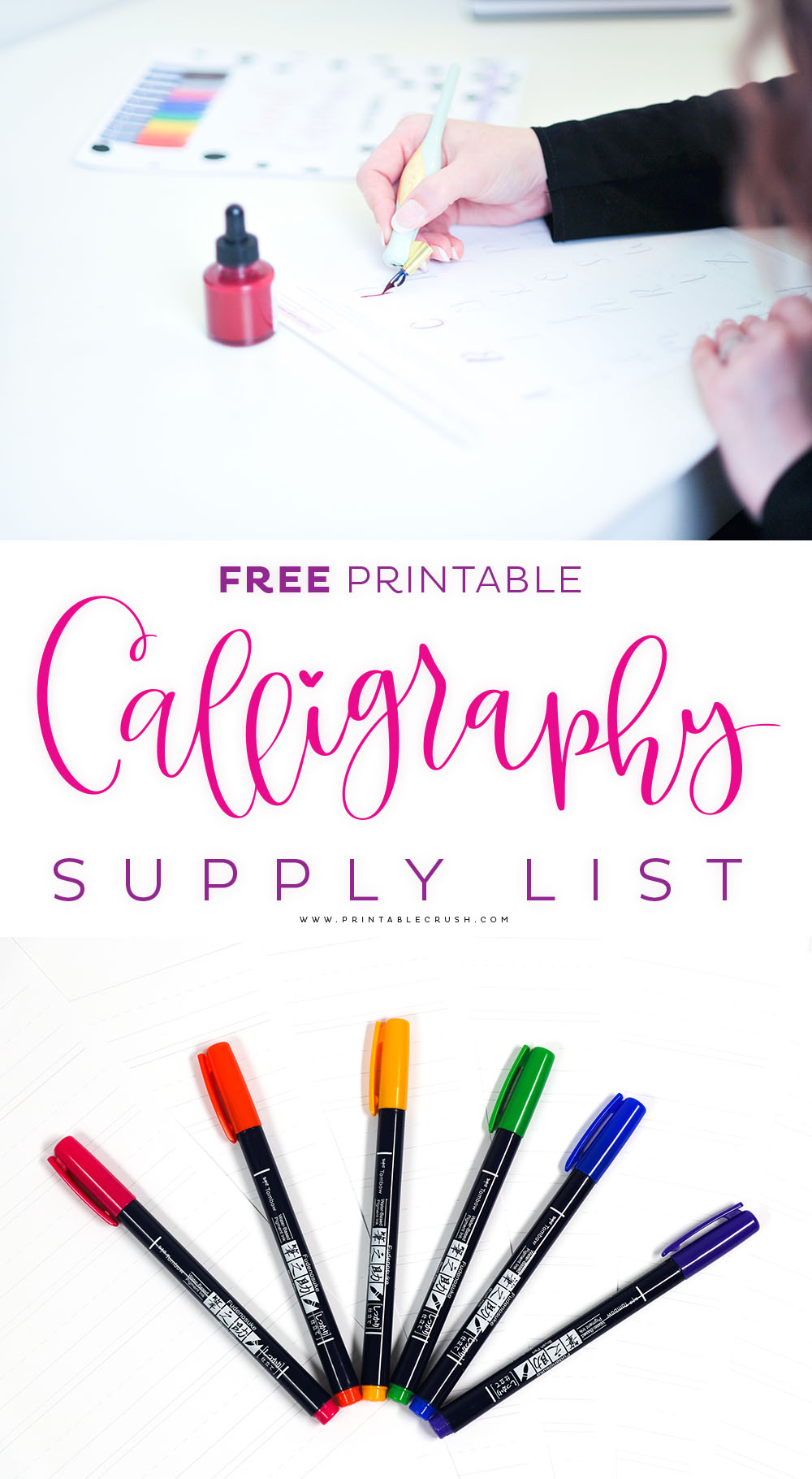 Download this FREE Casual Calligraphy Supply List to get the BEST supplies for creating calligraphy artwork! #calligraphysupplies #calligraphycourse #casualcalligraphy #calligraphylessons #letteringsupplies #calligraphy via @printablecrush