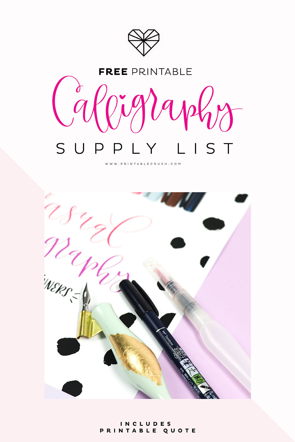 Download this FREE Casual Calligraphy Supply List to get the BEST calligraphy pens, brush pens, paper, and calligraphy accessories.