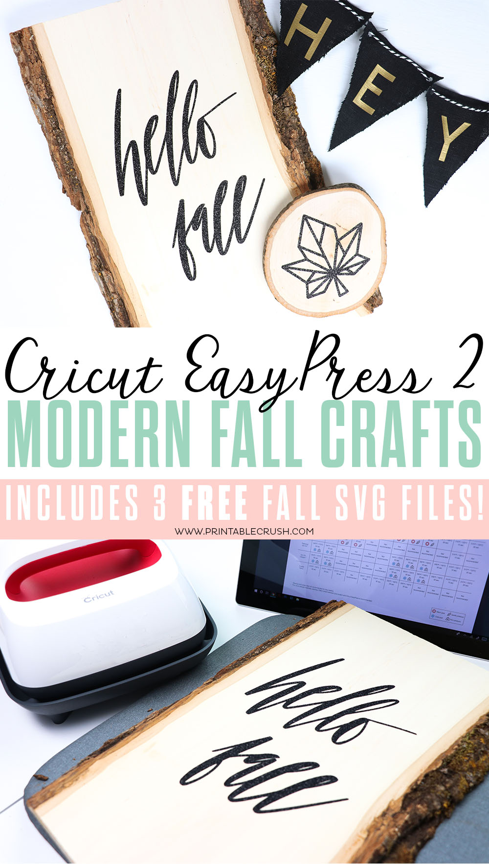 Easily create your Fall decor with these Cricut EasyPress 2 Modern Fall Crafts and FREE Fall SVG Files!