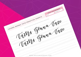 Get these Tators Gonna Tate Calligraphy Practice Sheets for FREE! Simply download and print to start mastering your calligraphy skills!