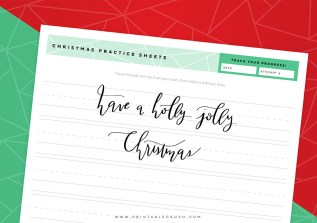 Holly Jolly Christmas Calligraphy Practice Sheets