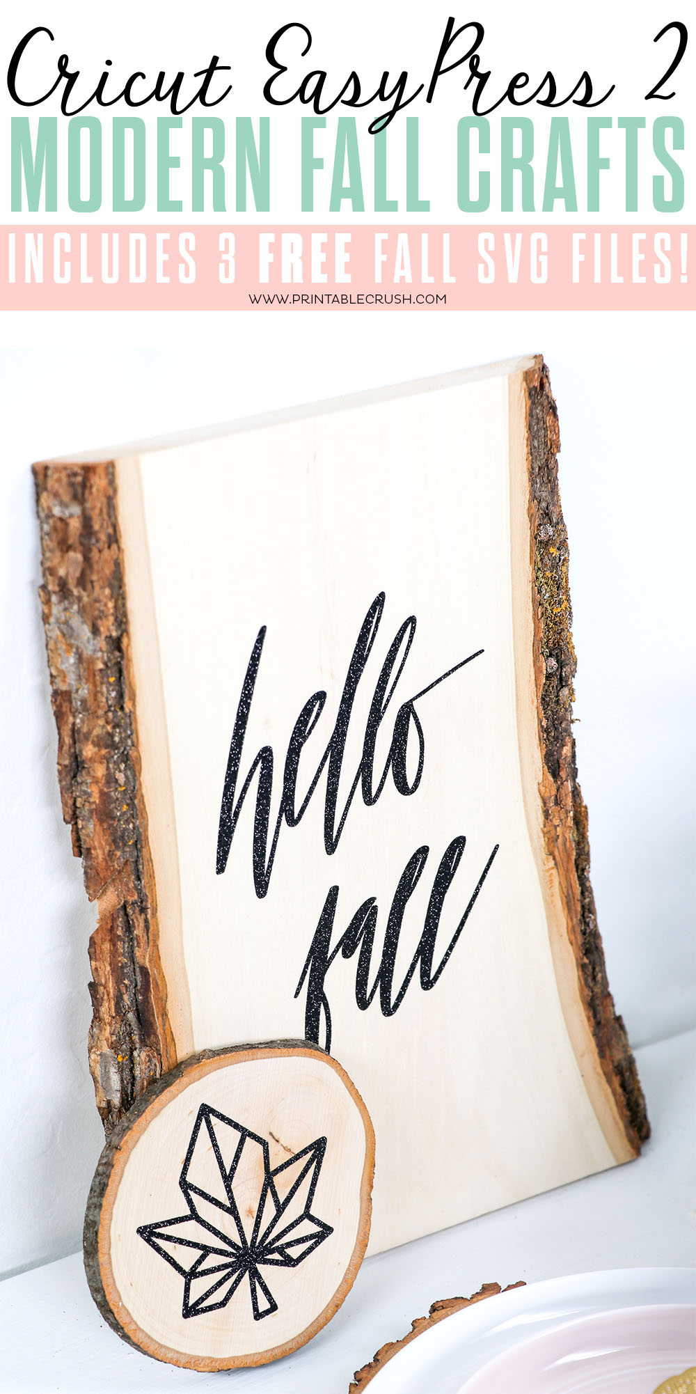 Make these pretty Wood signs and coasters with the Cricut EasyPress 2 and FREE SVG Files!