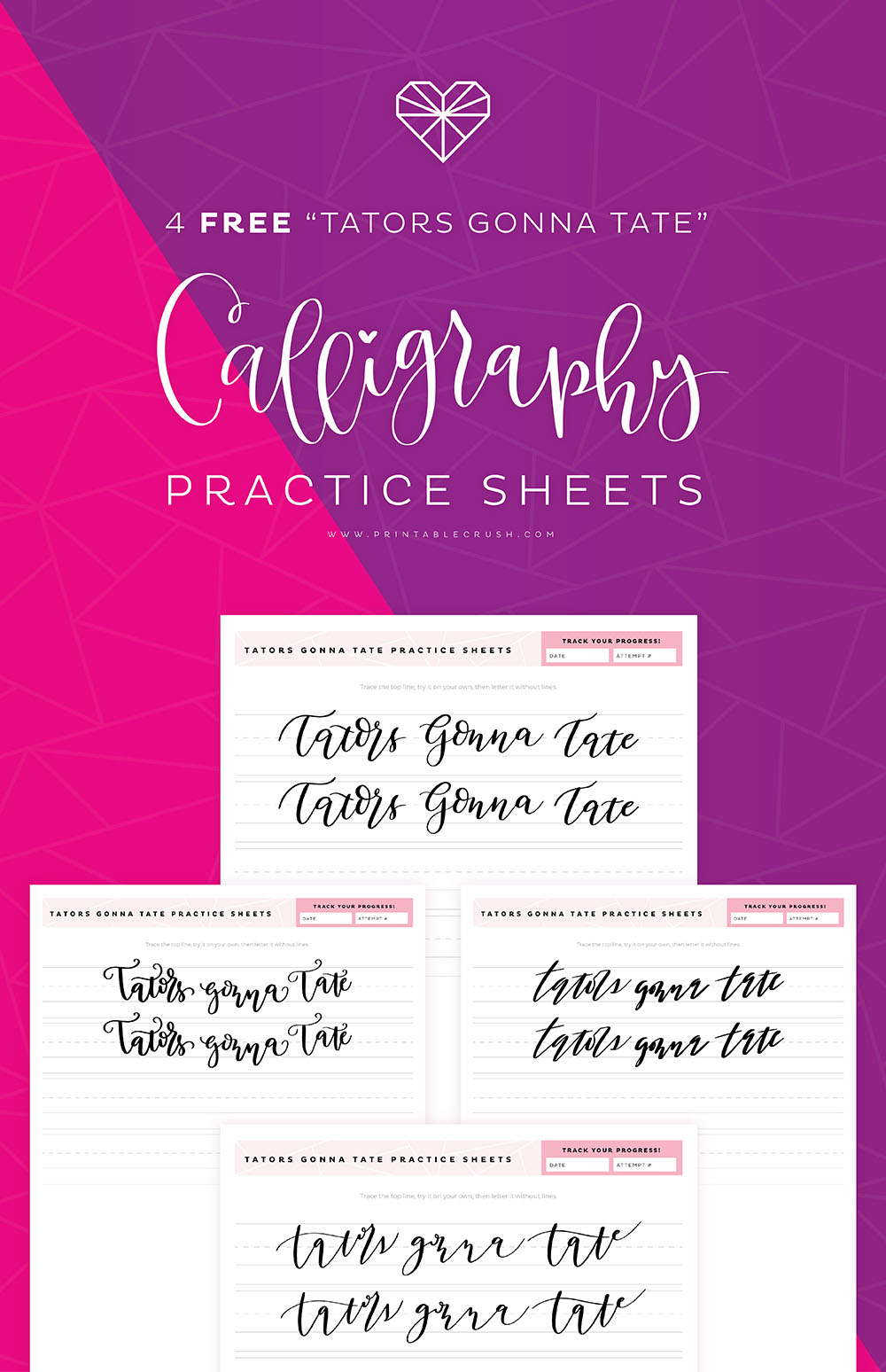 These funny Tators Gonna Tate Calligraphy Practice Sheets will help you master calligraphy! Practicing daily is THE BEST way to get better.