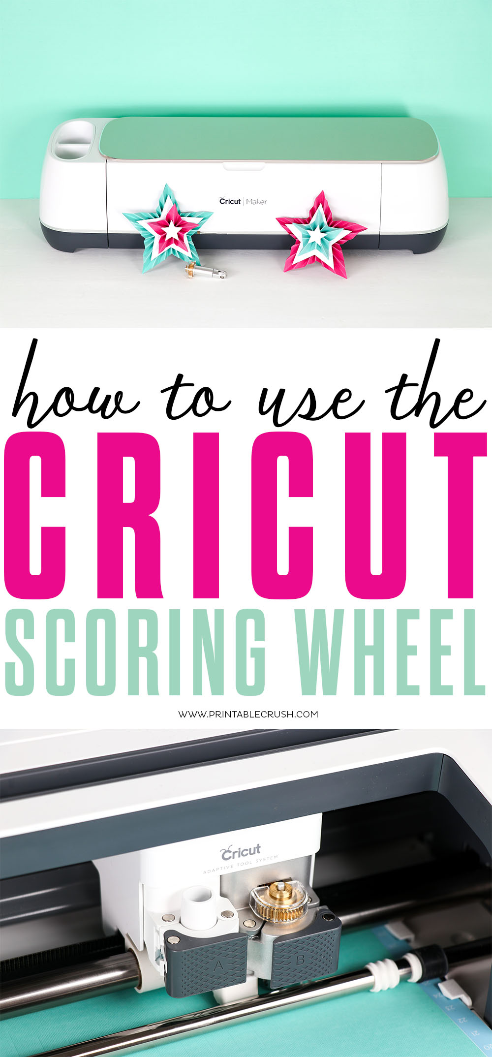 Learn how to use the Cricut Scoring Wheel on the Cricut Maker! Probably the easiest Cricut tutorial ever! #cricutscoringwheel #cricutmaker #cricutmakertutorial #cricutcraft #papercraft #cricutpapercraft #cricutmade #sayitwithcricut #cricutdesignspace via @printablecrush
