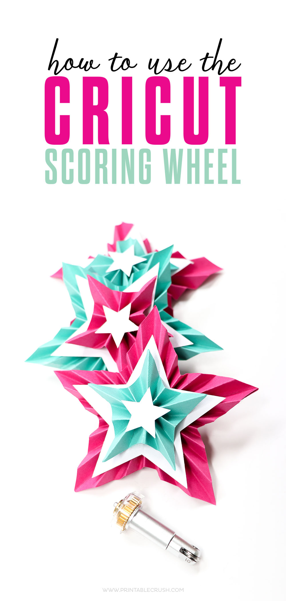 Make really fun paper projects, like this 3D Paper star with the Cricut Scoring Wheel!