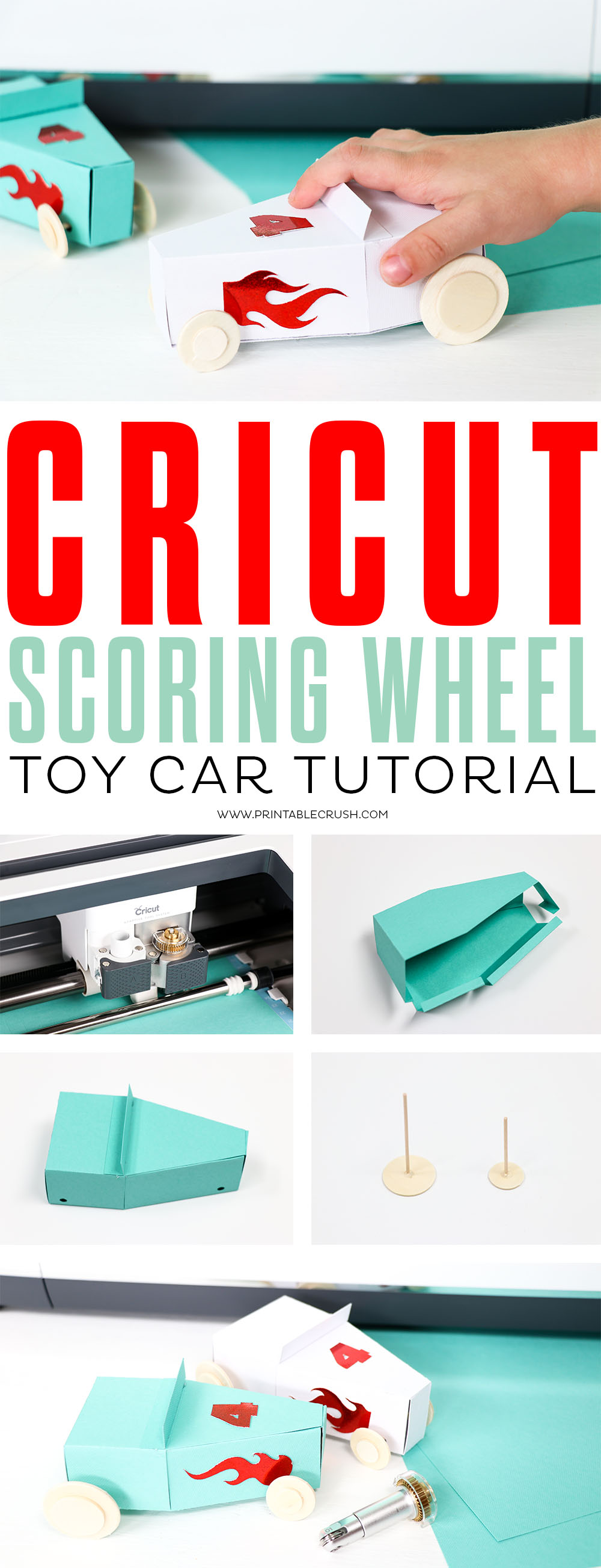 Use the Cricut Scoring Tool on the Cricut Maker to create these adorable Paper Toy cars!