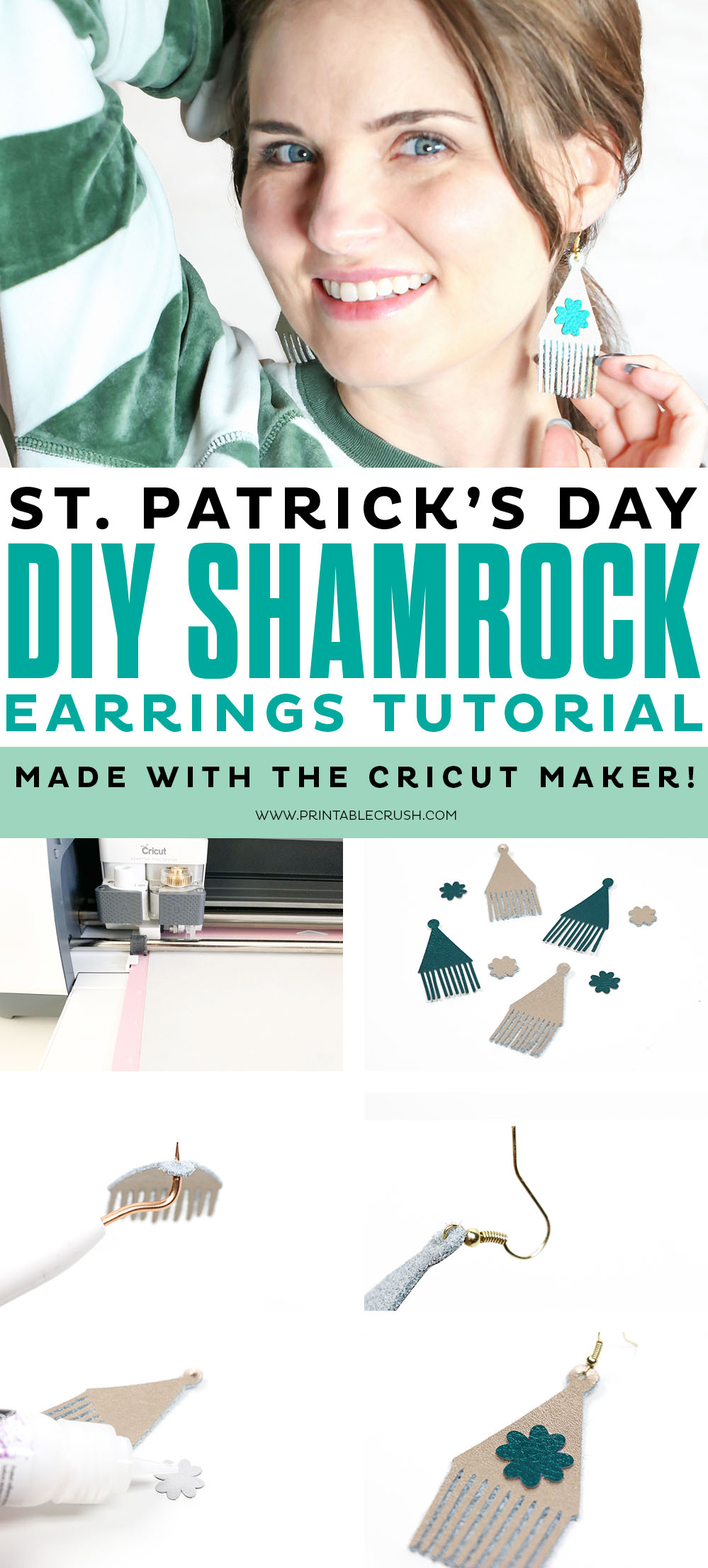 Break out your Cricut Maker to create these St. Patrick's Day DIY Shamrock Earrings!