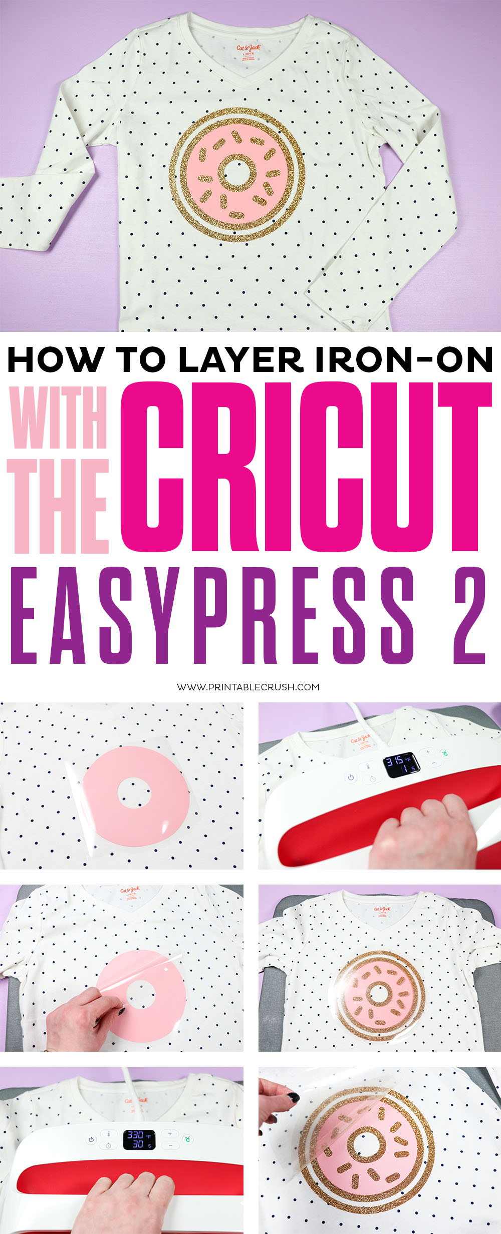 Create a layered iron-on t-shirt with the Cricut Easypress 2!